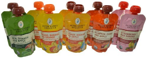 Peter Rabbit Organics 100% Pure Baby Food Variety, 4.4 Oz Pouches (Pack of 10)