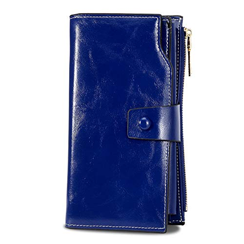(WOZEAH Women's RFID Blocking Large Capacity Luxury Wax PU Leather Clutch Wallet Card Holder Organizer Ladies Purse (navy blue))