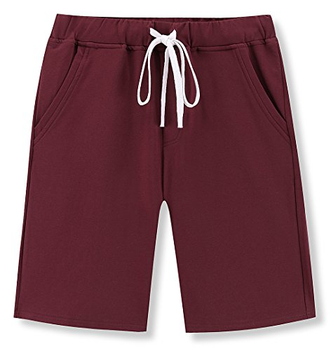 Janmid Men's Casual Classic Fit Cotton Elastic Jogger Gym Shorts Wine red - Shorts Drawstring Classic
