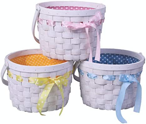 Set of 3 White Painted Lined Wooden Easter Baskets with Bright Bows