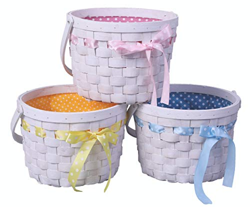 Set of 3 White Painted Lined Wooden Easter Baskets with Bright Bows]()