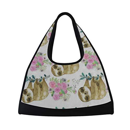 Gym Bag Pink Rose Flower Sloth Watercolor Women Yoga Canvas Duffel Bag Tennis Racket Tote Bags