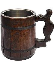 Handmade Wood Mug 20 oz Stainless Steel Cup Carved Natural Beer Stein Old-Fashioned Brown - Wood Carving Beer Mug of Wood Great Beer Gift Ideas for Men Wooden Beer Tankard Capacity: 20oz (600ml)