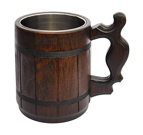 Handmade Halloween Mug 20 oz Stainless Steel Cup Carved Natural Beer Stein Old-Fashioned Brown - Wood Carving Beer Mug of Wood Great Beer Gift Ideas Wooden Beer Tankard for Men Capacity: 20oz (600ml)