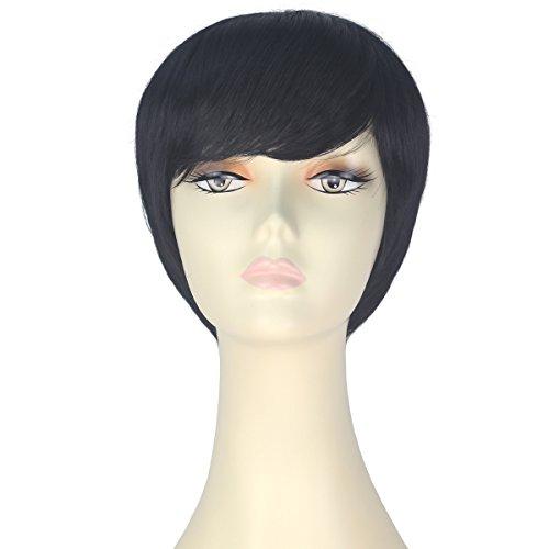 Decent Women Girl Short Straight Bob Hair Party Daily Cosplay Lolita Wig Halloween (Jet Black) -