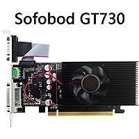 Sofobod GeForce GT730 Tarjeta Gráfica(DVI-I/HDMI/VGA, 2GB, GDDR3, 64Bit PCI-Express 2.0 , Velocidad de Reloj del procesador: 667MHz~810MHz)- Negro