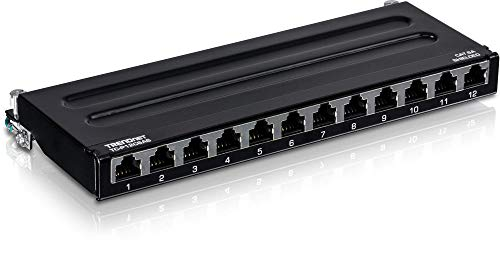 TRENDnet 12-Port Cat6A Shielded Wall Mount Patch Panel, 1000BASE-T / 10GBASE-T Support, Wall mounting Options, Compatible with cat5e, cat6, cat6a, 110 or Krone Type, TC-P12C6AS
