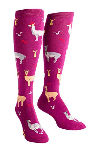Feet Printed Ribbon - Sock It To Me Women's Llama Drama Knee High Socks, Multicolored, One Size