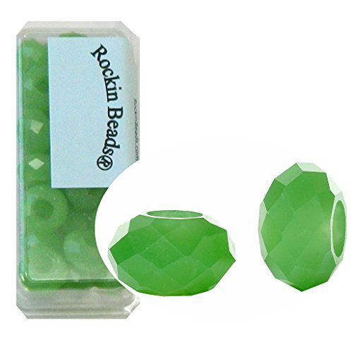 24 Green Alabaster Frost Beads Faceted Glass Large 5.5-6mm Hole ()