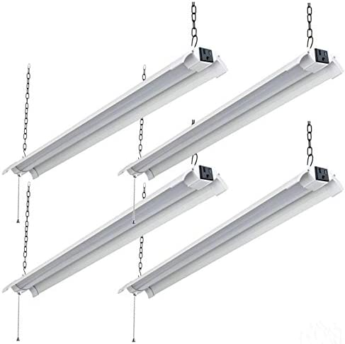 Bomcosy 4 Pack 4ft LED Shop Light Linkable, 48W 4000K Super Bright Daylight Integrated Fixture Utility Light, Hanging Mount, with Plug and Pull Chain, ETL Certified