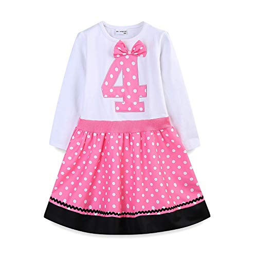 Mud Kingdom 4 Year Old Birthday Dress Girl Cute 4 Long Sleeve Pink (Birthday Wishes For 4 Year Old Baby Girl)