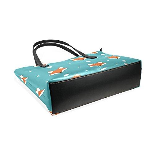 COOSUN Nette Füchse Patern PU-Leder-Schulter-Beutel-Geldbeutel und Handtaschen-Einkaufstasche für Frauen
