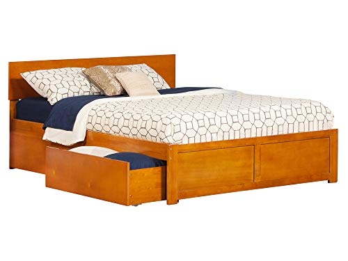 Atlantic Furniture AR8142117 Orlando Platform Bed with 2 Urban Bed Drawers, Queen, Caramel