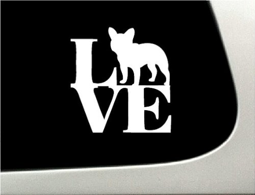 LOVE French Bulldog Dog Puppy Text Vinyl Car Sticker Symbol Silhouette Keypad Track Pad Decal Laptop Skin Ipad Macbook Window Truck Motorcycle (Text Symbol Puppy)