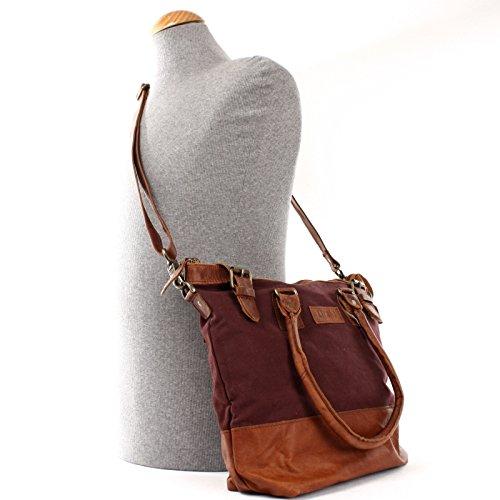 Sac en Sac marron toile pour 37x33x12cm dames pour Petit LE0056 Shopping main sac Leconi à cuir les épaule pour C loisirs Sacoche le bordeaux Sac Shopper qE4wR1WXU