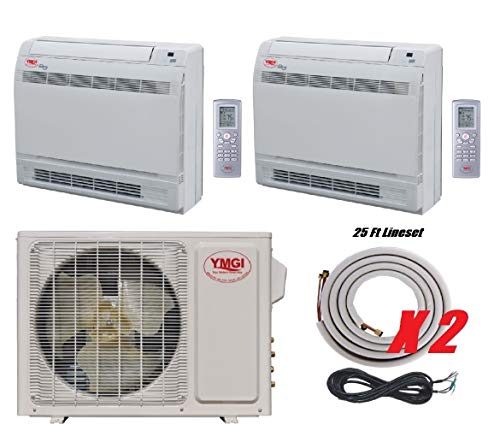 YMGI Two Zone - 18000 BTU Dual Zone Floor Mount Ductless Mini Split Air Conditioner with Heat Pump for Home, Office, Shops with 25 Ft Lineset Installation Kits