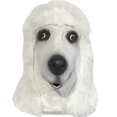 QIAO Halloween Props Poodle Animal Mask Cosplay Party Tidy Latex Props Fancy Dress Headgear (Color : A) -