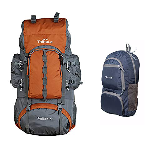 Tripole Walker 65 litres Rucksack with 20 Litre Foldable Day Pack | Internal Frame with Metal Rod | Rain Cover | Bottom Opening | Laptop Section (Orange)