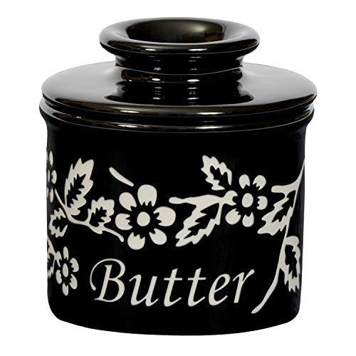 The Original Butter Bell crock by L. Tremain, Fleur de Provence Collection - Noir Black