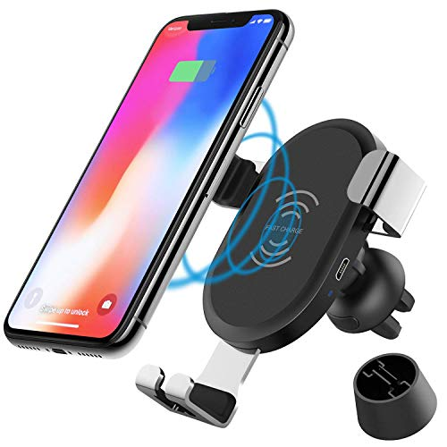 JCHIEN Wireless Car Charger Mount, Qi Wireless Charging Car Mount Air Vent Holder, 10W Fast Charge Samsung Galaxy S7 S8 S9, S9 Plus, Note 8 5, 7.5W Standard Charging Compatible iPhone X, 8/8 Plus by JCHIEN