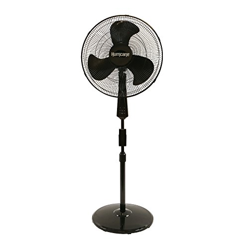 Adjustable Stand Pedestal - Hurricane Stand Fan - 18 inch | Supreme Series | Pedestal Fan with Remote Control, 3 Speed Settings, Adjustable Height 41 inches to 55 inches - ETL Listed, Black