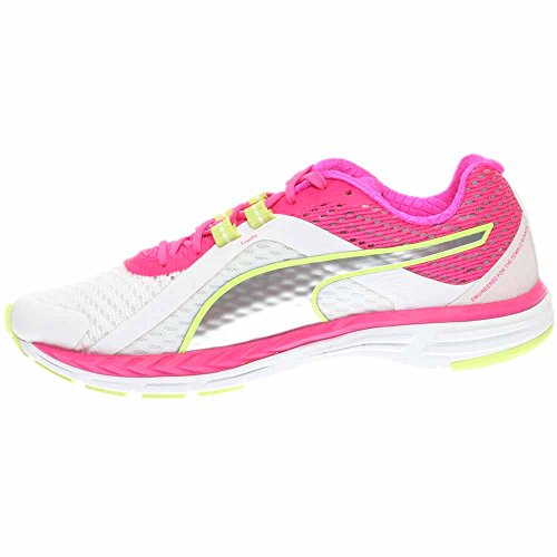 Puma Womens Speed 500 Ignite Running Shoes, White/Pink Glo/Silver (8.5)