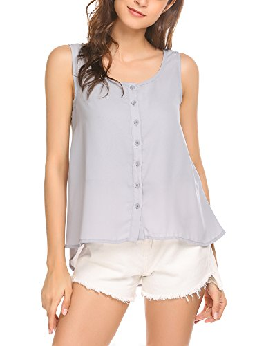 (Pasttry Women's Summer Button Chiffon Sleeveless Blouse Office Tank Top Gray)