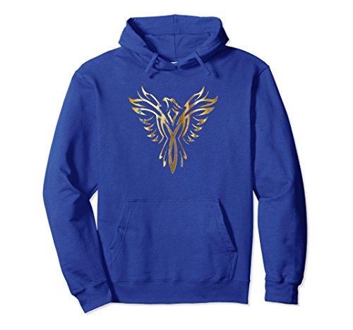 Unisex Phoenix Mythology Vintage Tribal Distressed Vintage Hoodie Large Royal Blue -