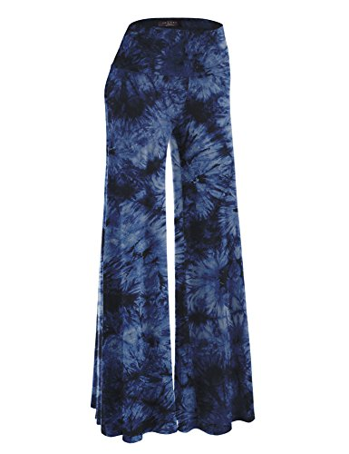 Made By Johnny MBJ WB1060 Womens Chic Tie Dye Palazzo Pants XL Navy