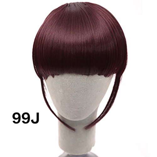 DIFEI Bangs Clip In Hair Extensions Fake Hair Bangs For Black White Women (99J)