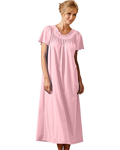 Shadowline Women's Plus-Size Petals 53 Inch Short Flutter Sleeve Long Gown, Pink, (Pink Short Nightgown)