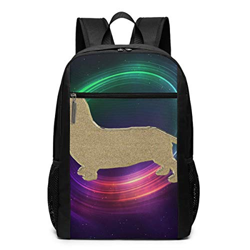 - Daschund Dog with Maelstrom Light Laptop Computer Backpack 17 Inch Large Casual Travel Daypack Laptop Bag for Women Men