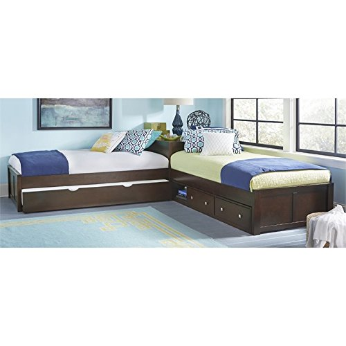 NE Kids Pulse Twin L Shaped Storage Bed with Trundle in ()