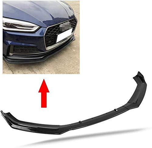 Qiilu Car Front Bumper Canard Lip Splitter Body Shovels Fit for Audi A5 S-Line B9 17-18 Carbon Fiber