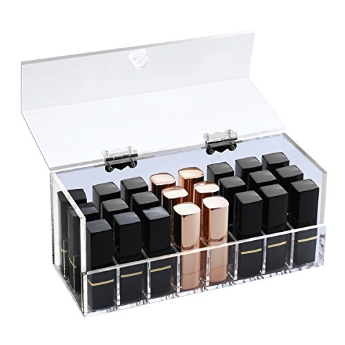 Boxalls Acrylic Nail Polish Lipsticks Lip Gloss Organizer,Makeup Personal Beauty Care Holder with Lid/Handmade 5mm Thickness (Clear,24 Compartments)