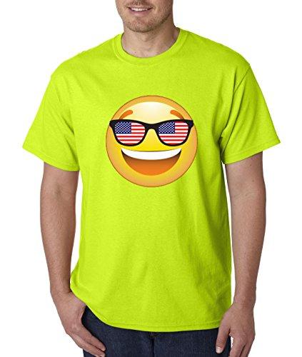 T-Shirt Emoji Smiley Face USA American Flag Sunglasses 4th July 4XL Safety Green ()