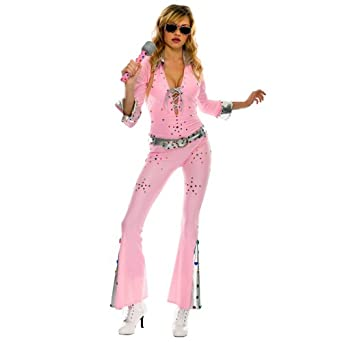 7dee41913d87 Amazon.com  Vegas Rock Star Pink Elvis Jumpsuit Adult Costume  Clothing