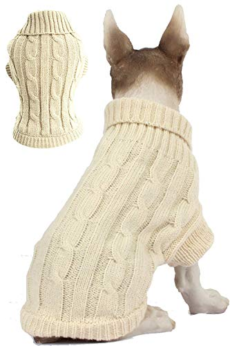 BOBIBI Dog Sweater – Winter Coat Apparel Classic Cable Knit Clothes for Cold Weather