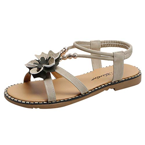 Londony Women's Sweet Summer Bohemia Beaded Sandals Clip Toe Flat Sandals T-Strap Flip Flop Rhinestone Walking Shoes Beige