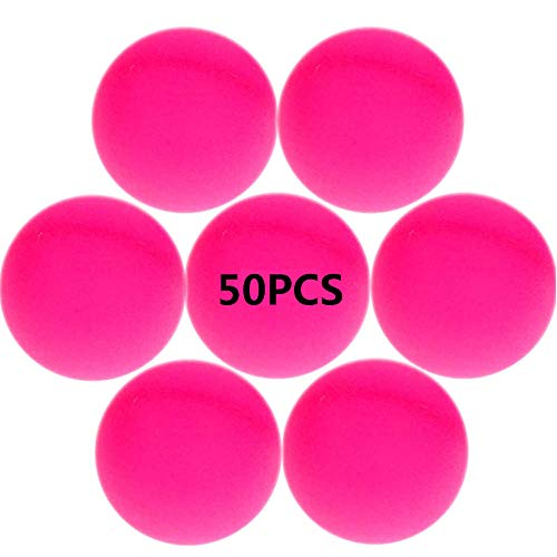Jedulin 40MM Ping Pong Balls, 50 Pack Assorted Colored Tennis Balls Multi Color Plastic Balls Fun Beer Ping Pong Balls Bulk for Beer Pong Balls, Arts and Craft, Party Decoration, Cat Balls (Hot Pink)