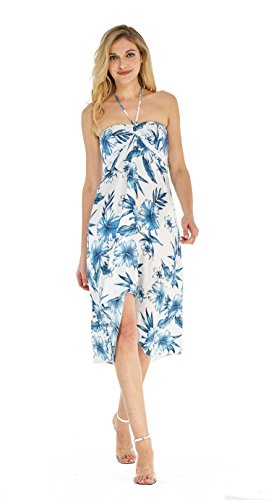 Women's Hawaiian Luau Halter Floral Print Halter Dress L Day Dream Bloom -