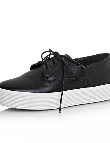 Casual Cuero Black Redonda Mujer Oxfords us5 5 Punta Zq 5 Eu39 Uk3 Negro De Zapatos us8 Cn34 Eu35 Cn40 Uk6 Blanco Plataforma Black agw08n