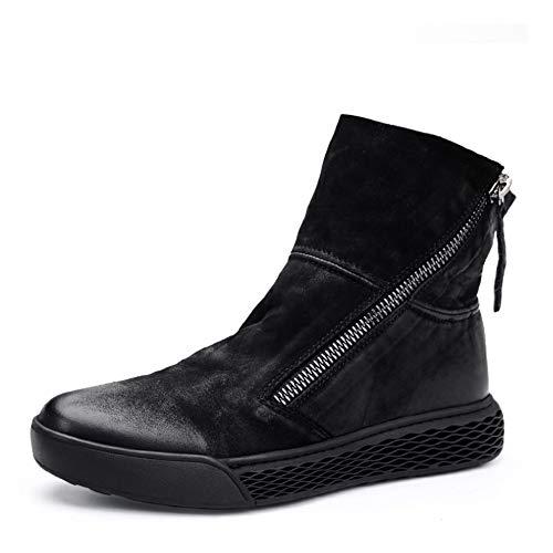 Con Casual Chelsea Hombre Tendencia Fondo Grueso Botas De Redonda Cremallera Combate Martin Zapatos Botines Black Retro Cabeza 1EFxwqC