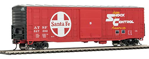 50' WAFFLE-SIDE BOXCAR - READY TO RUN -- SANTA FE 527090 (SUPERIOR DOORS, RED, WHITE, YELLOW, SUPER SHOCK CONTROL)