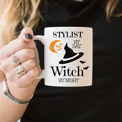 Stylist By Day Witch By Night, Halloween Coffee Mug, Gift For Hairdresser, Funny Witch Coffee Mug, Fashion Blogger, Wardrobe Stylist Gift -