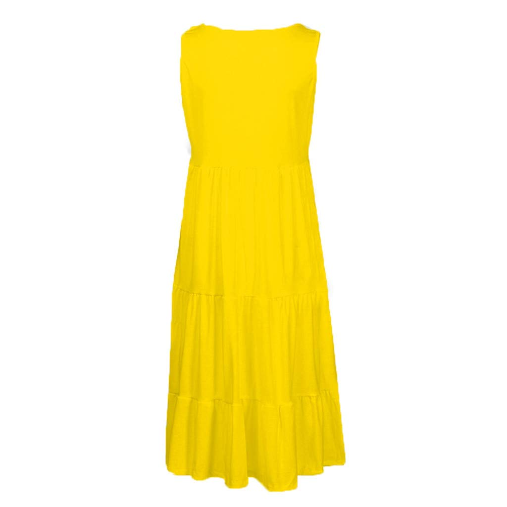 Beach Dress, Women's Vintage Solid Dress Sleeveless Pockets Puffy Swing Casual Summer Party Dress (M, Yellow) by Twinsmall (Image #3)