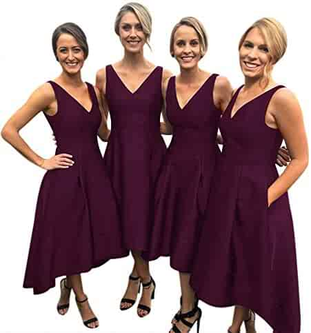 542b936c83ea LeoGirl Womens High Low Bridesmaid Dresses V Neck Satin Wedding Party Prom  Gown