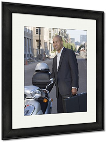 Ashley Framed Prints Businessman With Briefcase Next To Scooter, Wall Art Home Decoration, Color, 40x34 (frame size), Black Frame, (Framed Briefcase)