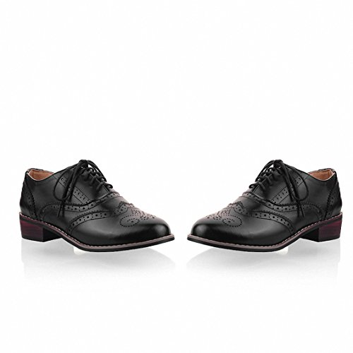 Flat Women's Wingtip Oxford Brogues up Vintage Lace Shoes Perforated 2 Hecater Oxfords Black TqwAw