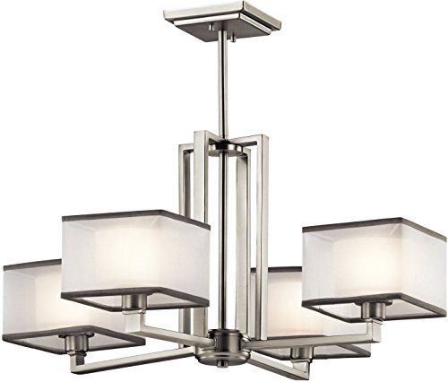 Kichler Lighting 43438NI Kailey 4LT Chandelier, Brushed Nickel Finish with Etched Opal Glass Shades and White Organza Fabric Shades